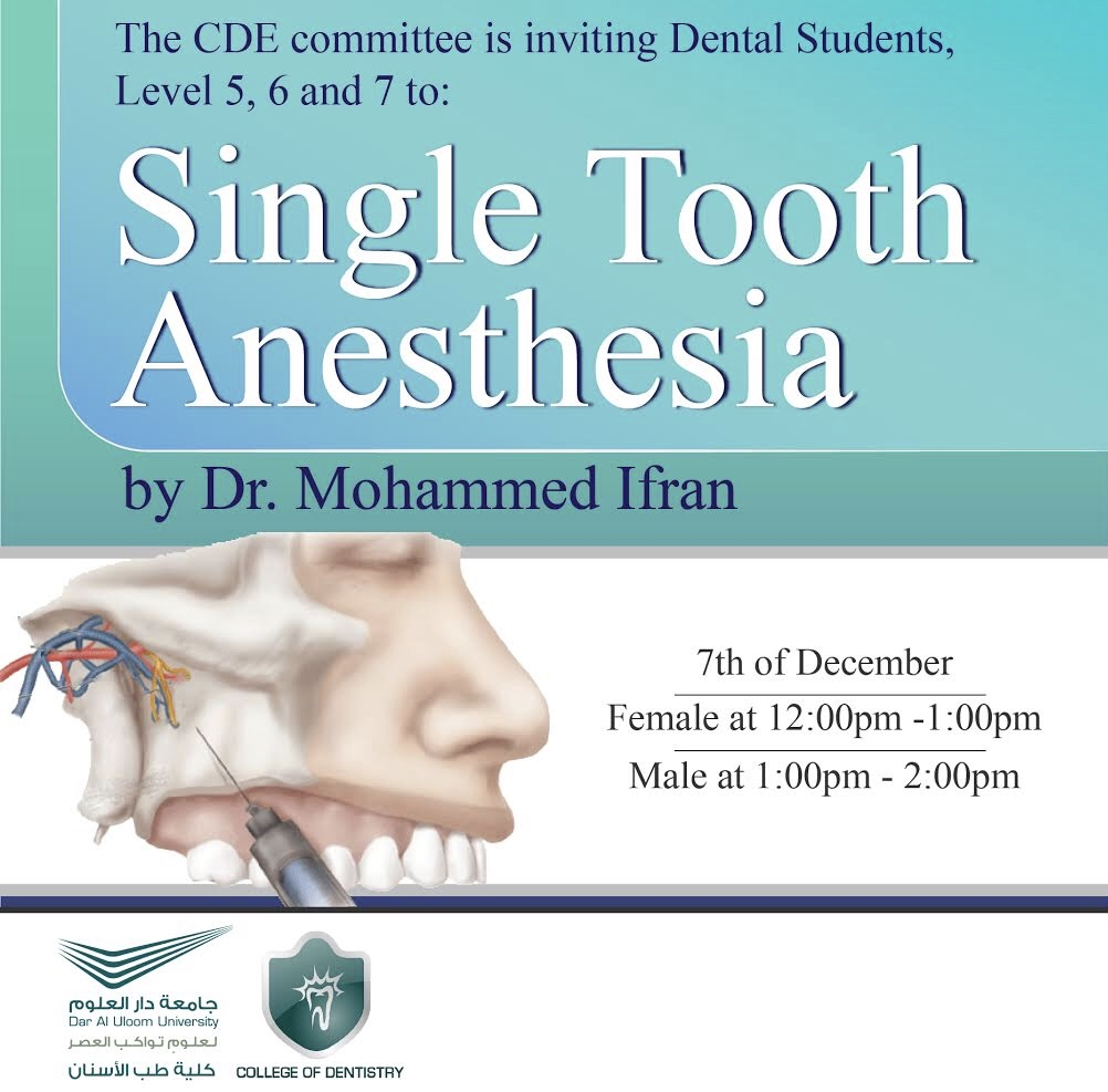 CDE Invites you to: Single Tooth Anesthesia